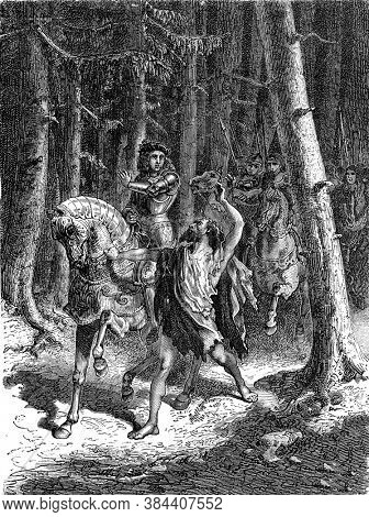 Charles VI in the forest of Le Mans, Vintage engraving. From Popular France, 1869.