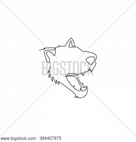 Single Continuous Line Drawing Of Angry Tasmanian Devil Head For Company Logo Identity. Endangered A