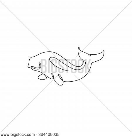 Single Continuous Line Drawing Of Adorable Dugong For Marine Company Logo Identity. Sea Cow Mascot C