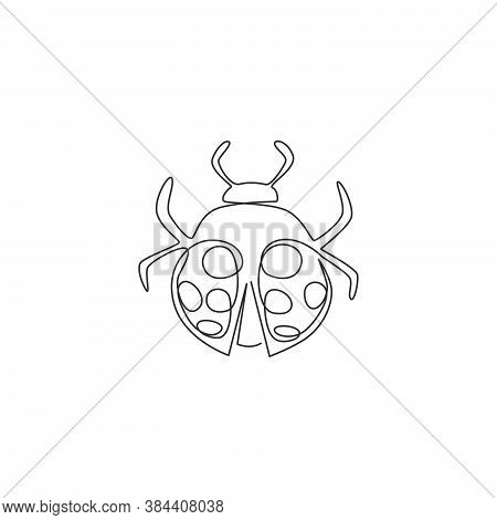Single One Line Drawing Of Adorable Ladybug For Company Logo Identity. Little Insect Mascot Concept