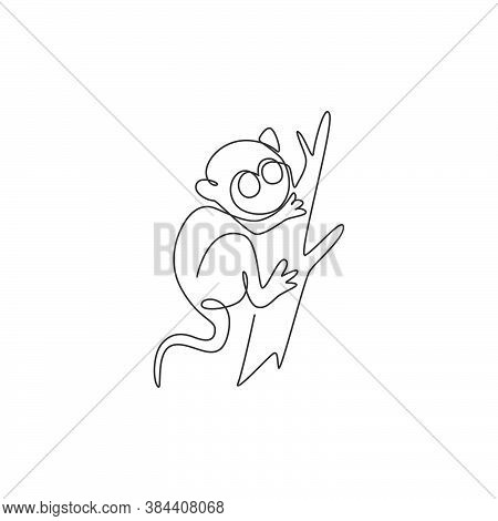 Single Continuous Line Drawing Of Adorable Tarsier For Company Logo Identity. Tiny Monkey Animal Mas