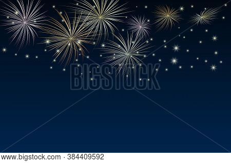 Brightly Gold Fireworks And Stars On Twilight Background. Festival Or Holiday Fireworks Banner On Da