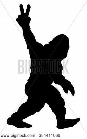 Bigfoot Sasquatch Yeti Peace Sign Silhouette Cartoon Isolated Vector Illustration