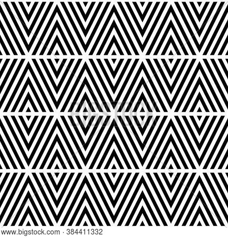 Black Chevron Lines On White Background. Seamless Surface Pattern Design With Linear Ornament. Curve