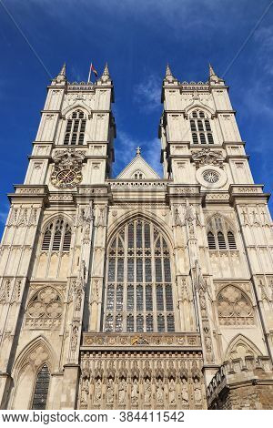 Westminster Abbey, London. Landmark Gothic Abbey Church In The City Of Westminster.