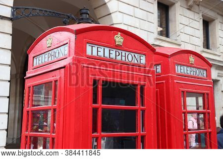 London Red Telephone. English Symbol - Red Phone Booths In Covent Garden.