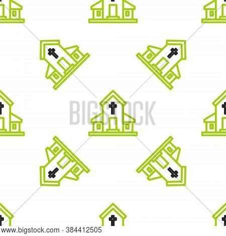 Line Church Building Icon Isolated Seamless Pattern On White Background. Christian Church. Religion