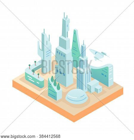 Smart Technology City Model Isolated On White Background. Commercial Multistory Building Apartment.