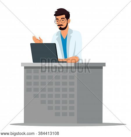 Family Doctor With Laptop Sit At Desk. General Practitioner Therapist Have Video Call Conference Wit