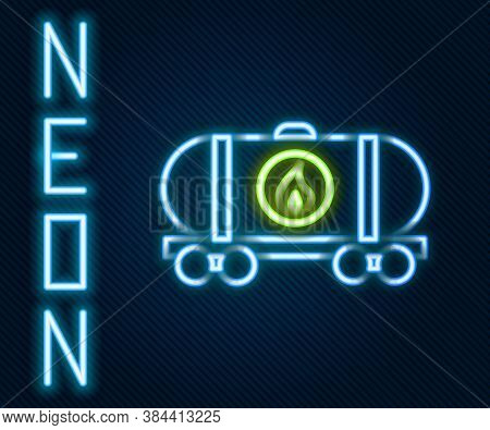 Glowing Neon Line Oil Railway Cistern Icon Isolated On Black Background. Train Oil Tank On Railway C