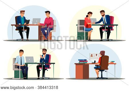 Headhunting Set. Recruitment Agency And Employment Service. Employee Interviewing And Hiring Process