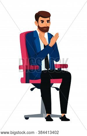 Serious Hr Manager Employer With Rejection Hand Gesture. Wrong, Fault, Not Correct, Not Allow, Prohi