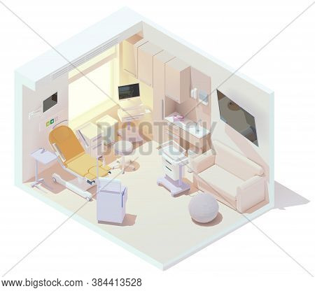 Vector Isometric Hospital Labor And Delivery Or Birthing Room. Ldr Room Interior. Birthing Bed, Anes