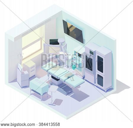 Vector Isometric Low Poly Hospital Operating Room Or Operating Theater. Clinic Surgery Room. Include