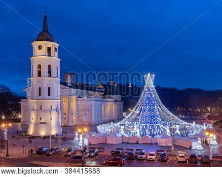 Cathedral Of St. Stanislav And The Tower Of The Gediminas. Vilnius. Lithuania.