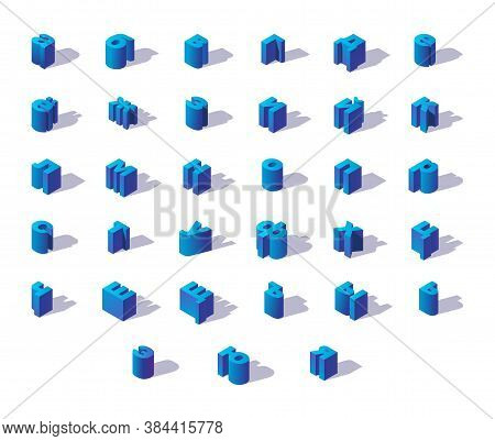Blue Isometric Russian Alphabet With Shadows. Lowercase Letters Good For Writing Logo And Quotes.