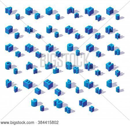 Blue Isometric Isolated Russian Cyrillic Alphabet Large And Small Letters With Shadows. For Writing