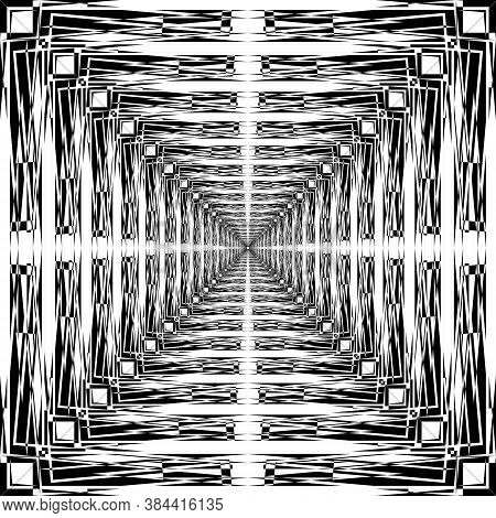 Abstract Arabesque Ceiling Classic Perspective Negative Space Design Black On Transparent Background