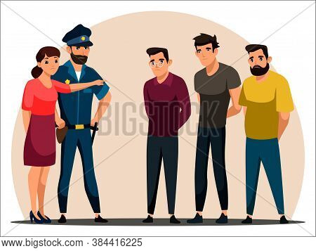 Vector Character Illustration Wwthree Men Suspected Of Committing Crime Standing Against Wall. Polic