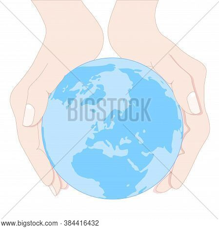 Earth Planet In Two Hands Top View Hand Drawn Colorful Art Design Elements Stock Vector Illustration