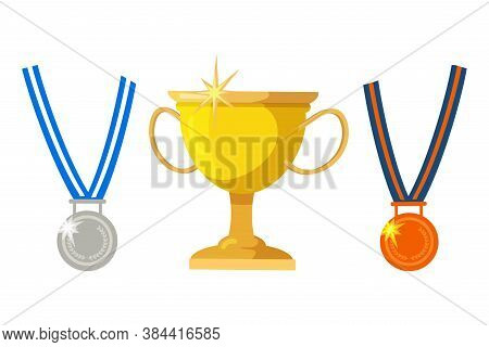 Vector Flat Illustration Of Golden Cup, Silver Or Bronze Medals. Set Of Isolated Objects, Design Ele