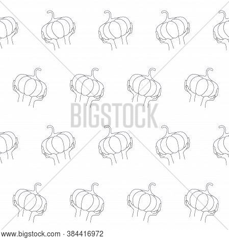 Pumpkin In Hand Sketch Seamless Monochrome Pattern Stock Vector Illustration For Web, For Print, For