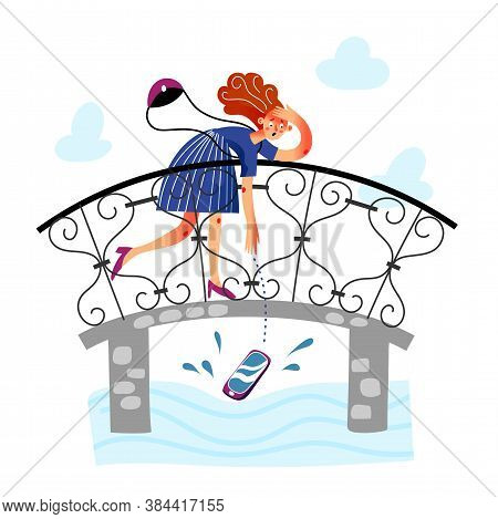 Screaming Upset Woman Character Looking At Smartphone Falling In Water From Bridge. Girl Dropping Ce