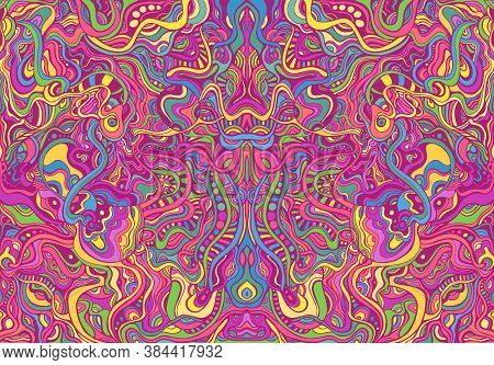 Symmetrycal Motley Hippie Trippy Psychedelic Abstract Pattern With Many Intricate Wavy Ornaments, Br