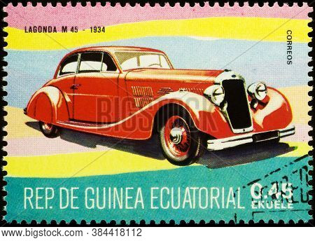 Moscow, Russia - September 08, 2020: Stamp Printed In Equatorial Guinea Shows British Luxury Retro C