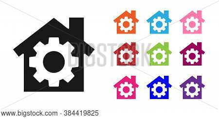 Black House Or Home With Gear Icon Isolated On White Background. Adjusting, Service, Setting, Mainte