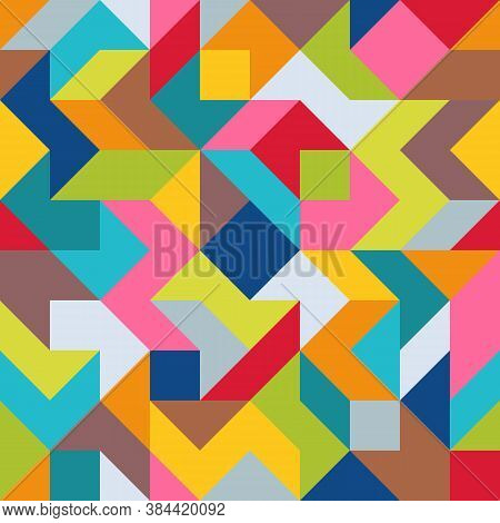 Geometric Universal Abstract Asymmetric Seamless Pattern Of Simple Angular Geometric Shapes. Color P