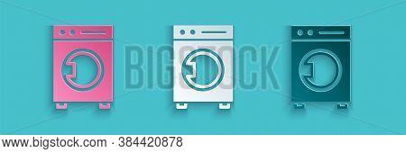 Paper Cut Washer Icon Isolated On Blue Background. Washing Machine Icon. Clothes Washer - Laundry Ma