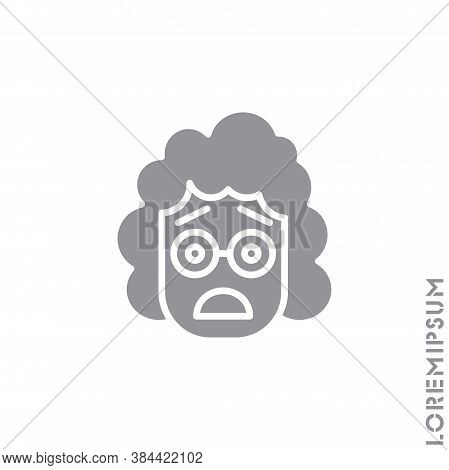 Frowning With Open Mouth Emoji Vector Girl, Woman Icon With Raised Eyebrows. Frowning With Open Mout