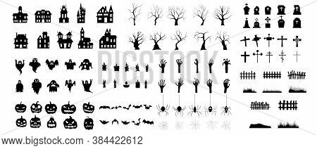 Set Of Silhouettes Of Halloween. The Shadow Collection On Halloween. Set Of Icon For Celebration.  I