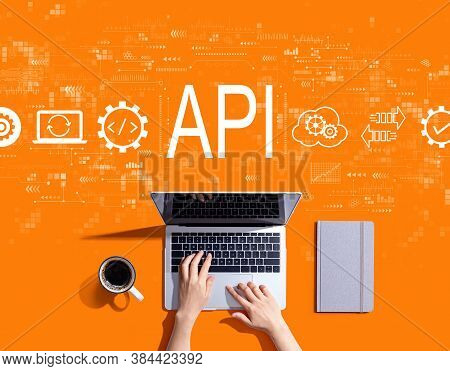 Api - Application Programming Interface Concept With Person Using A Laptop Computer