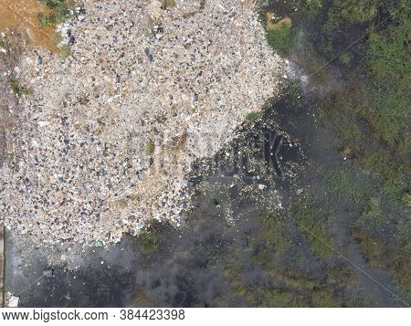 Aerial Photo Of Plastic Waste And Sewage From The City Cause Environmental Pollution Poisoning The A