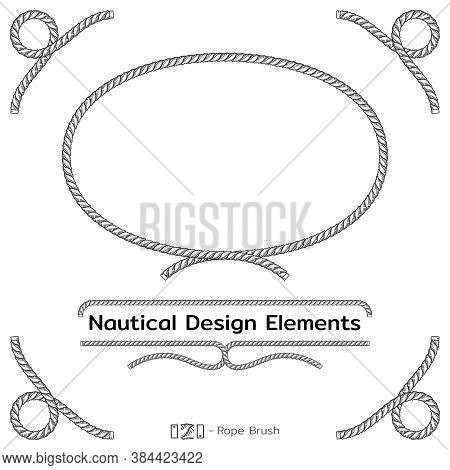 Rope Design Elements. Frame For Text Of Marine Theme. Template For Nautical Design. Sea Speech Bubbl
