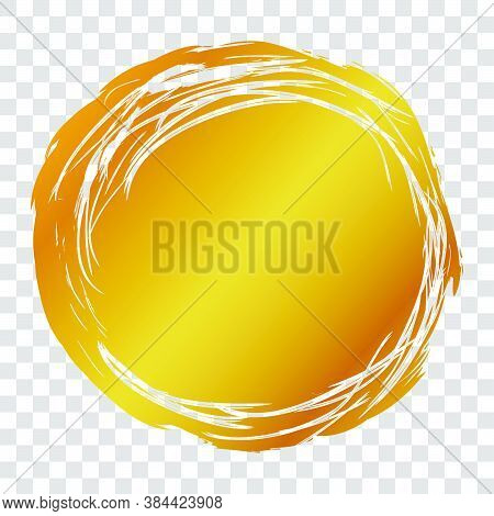 2 Hand Draw Streak Sketch Golden Circle Frame For Your Element Design, Transparent Effect Background