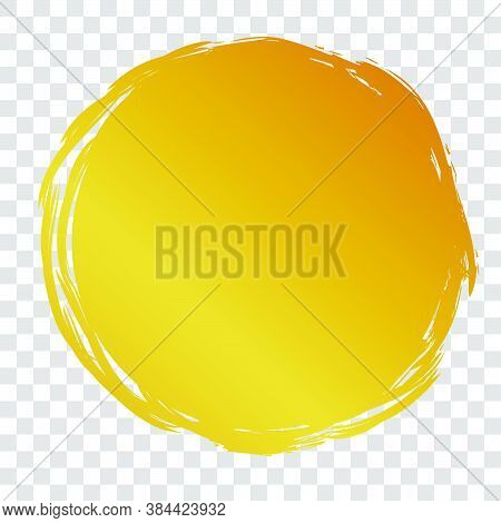 Hand Draw Streak Sketch Golden Circle Frame For Your Element Design, Transparent Effect Background