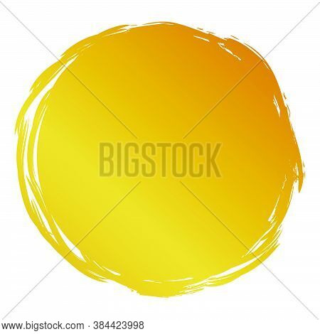 Hand Draw Streak Sketch Golden Circle Frame For Your Element Design, Isolated On White