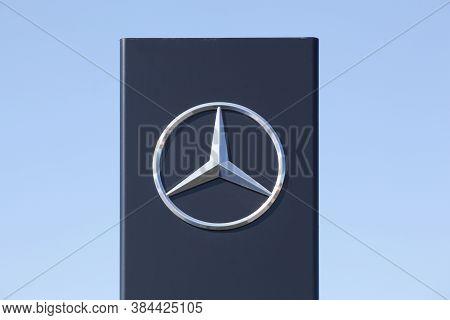 Saint Georges, France - September 3, 2020: Mercedes Logo On A Panel. Mercedes-benz Is A German Autom