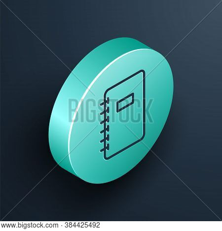 Isometric Line Notebook Icon Isolated On Black Background. Spiral Notepad Icon. School Notebook. Wri