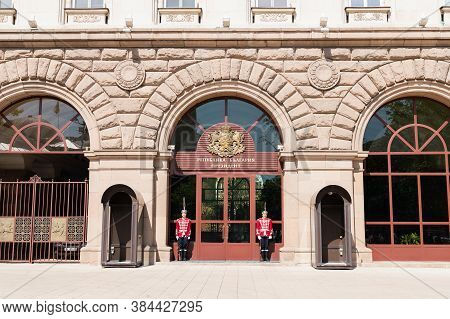 Sofia, Bulgaria - May 3 2019: Two Guards Of Honor In Front Of The Presidency Of Bulgarian Republic I