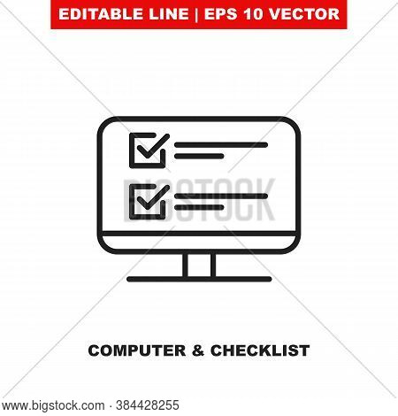 Online Survey Check List Form On Computer. Editable Thin Line Vector Icon Of The Computer Monitor Wi