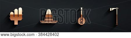 Set Cactus, Mexican Sombrero Hat, Banjo And Tomahawk Axe Icon With Long Shadow. Vector
