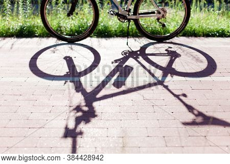 Bike On Bicycle Path In Park. Shadow From Bike On Road. Concept Of Healthy Lifestyle, Sport Cycling,