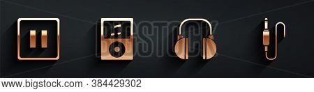 Set Pause Button, Music Player, Headphones And Audio Jack Icon With Long Shadow. Vector