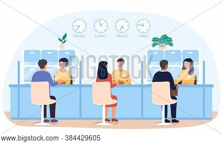 Bank Employees Providing Financial Services To Clients. Flat Vector Illustration