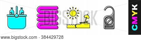 Set Cooler Bag And Water, Towel Stack, Beach With Umbrella And Chair And Please Do Not Disturb Icon.