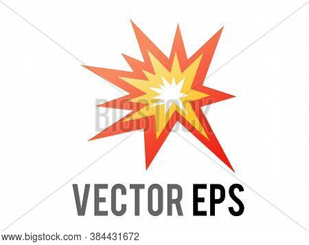 The Isolated Vector Cartoon-styled Red, Yellow Fiery Burst Collision Star Icon